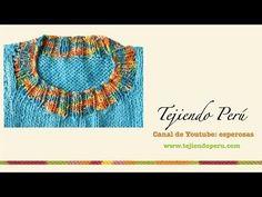 Dos agujas: cuello redondo: disminuciones de la delantera y la espalda - YouTube Knitting Videos, Knitting Stitches, Knitting Patterns, Knit Crochet, Crochet Necklace, Textiles, Embroidery, Wool, Sewing