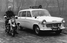 A Standard Ensign estate car and police motorcycle of the Manchester City Police fleet in Very Classy! Manchester Police, London Police, Manchester City, British Police Cars, Emergency Vehicles, Police Vehicles, Navy Aircraft, Cars Uk, Commercial Vehicle