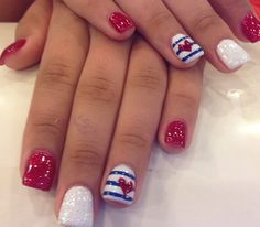 Blue Red and White with Strips and Hearts Nail Art Design