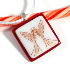 Angel Pendant, Fused Glass Christmas Jewelry, Red and White