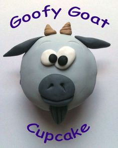 Изображение Гуфи Goat Cupcake Учебник Cupcake Cookies, Diy Cupcake, Cupcake Toppers, Fondant Flower Cake, Fondant Cakes, Fondant Bow, Fondant Figures, Cupcake Tutorial, Animales
