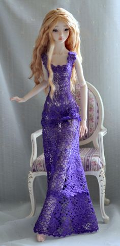 Crochet long dress for enchanted doll or for doll by DressForDoll