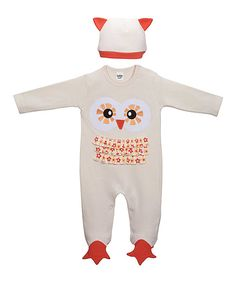 Another great find on #zulily! GANZ Tan Owl Ruffle Footie & Beanie - Infant by GANZ #zulilyfinds