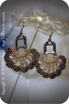 Boucles d'oreille languettes de canette fleur Pearl : Boucles d'oreille par lnop-creations