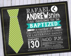 LDS Boy Baptism Invitation | Tie Invitation | Priesthood Invitation | Printable Digital Invitation