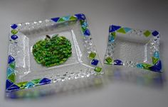 Judaic colors square apple and honey set by por YafitGlass en Etsy