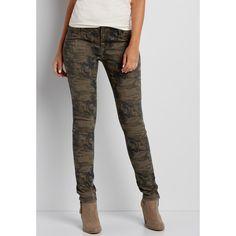 maurices Denimflex™ Jegging In Olive Green Camo Print, Women's, ($39) ❤ liked on Polyvore featuring pants, leggings, denim leggings, camouflage leggings, olive pants, olive green jeggings and army green leggings