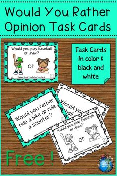 Free opinion would you rather task cards. Great for speaking and writing practice. Pictures will help ELLs with vocabulary. #taskcards #freebie #freebie #freebiefriday #freeprintable #freedownload #opinionwriting #esl #esol #speaking