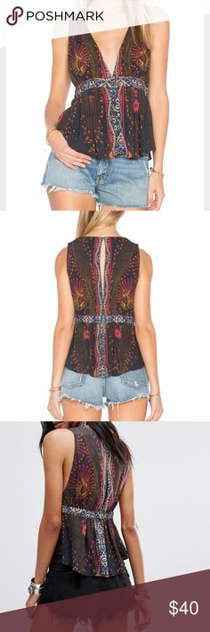 "NWT Free People ""Siren"" Top sz XS Brand new with tags Free People "" Siren"" Top. Beautiful collars. Button up front. Perfect bohemian summer piece! Get it while it's still available! Originally $88.00 Free People Tops Crop Tops"