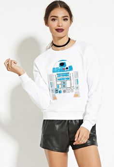 Model wears Star Wars R2-D2 Graphic Pullover Shirt for lookbook Photoshoot