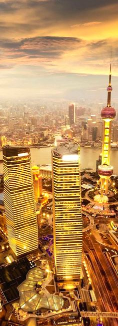 A view of the Oriental Pearl Tower at sunset in SHANGHAi - A Direct Controlled Municipality of CHINA