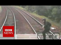 Footage of a cyclist who came within inches of being hit by a train has been released as a railway safety warning. The incident, which took place at Ducketts. Bbc News, Train, Strollers