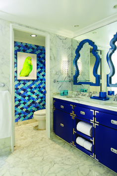 "Experience Eau Palm Beach, a Palm Beach resort designed by Jonathan Adler. This luxury hotel with its splashes of color redefines ""Palm Beach Chic. Inspiration Design, Bathroom Inspiration, Design Ideas, Design Styles, Small Bathroom, Master Bathroom, Bathroom Ideas, Modern Bathroom, Bohemian Bathroom"