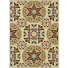 @Overstock - This Chime power-loomed area rug offers style and design in a unique transitional and contemporary floral pattern. Featuring a rich ivory color and multiple accent shades, this rug will add to any room's decor.http://www.overstock.com/Home-Garden/Chime-Ivory-Multi-Area-Rug-77-x-106/6131310/product.html?CID=214117 $314.99