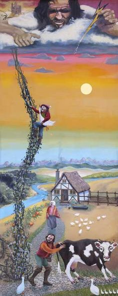 """""""Jack and the Beanstalk"""" Written by Benjamin Tabart - Art By James Maxwell - A Brothers Grimm Fairy Tale - German - (1807)"""