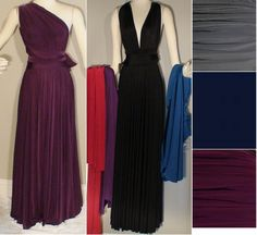 Eri'N Water Silky Jersey Convertible Full Length Gown Navy $90