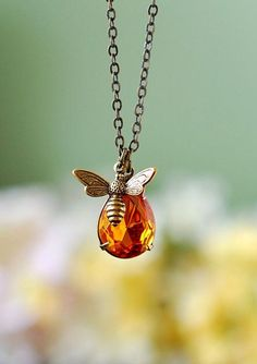 Bee Necklace. Honey Drop and Honey Bee Necklace. Pear Shaped Swarovski Golden Topaz Pendant Antiqued Brass Bee Charm Necklace, Bee jewelry by LeChaim