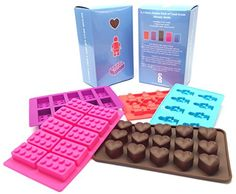 SnB Deluxe: 5 Silicone Candy Molds & Ice Cube Trays - Best Box Set of Molds for Lego & Heart Lovers w Bonus Recipe Inside