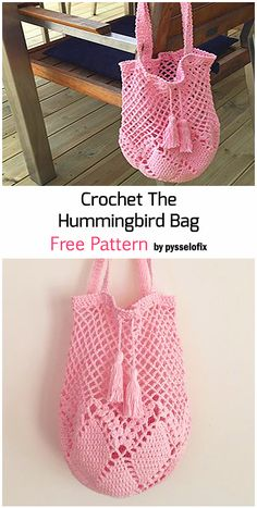 Crochet The Hummingbird Bag - Free Pattern Crochet Market Bag, Crochet Tote, Crochet Purses, Crochet Gifts, Diy Crochet, Crochet Stitches, Crochet Patterns, Crochet Instructions, Crochet Projects
