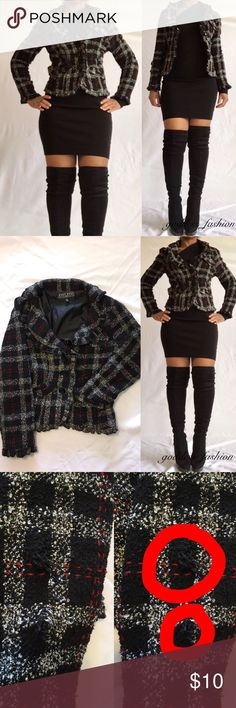 Blazer Jacket Blazer plaid jacket four button front, four pockets in front with two side buckles on each side have two small snags on right front arm and the inside lining is torn a little lasckess Jackets & Coats Blazers