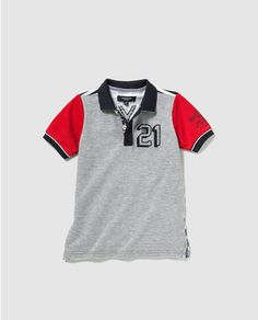 Polo de niño Mcgregor en gris con print Polo T Shirts, Boys Shirts, Toddler Boy Outfits, Toddler Boys, Moda Junior, Knitting For Kids, Kids Wear, Sportswear, Kids Fashion