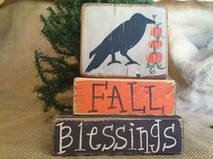 Primitive Crow Pumpkins Fall Blessings Thanksgiving Shelf Sitter Wood Block Set #PrimitiveCountry