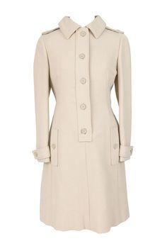 Vintage 1960s Geoffrey Beene designer beige wool coat dress