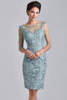 Sheath/Column Jewel Knee-length Lace Evening Dress