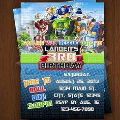 Rescue Bots Invitation, Rescue Bots Birthday Invitations, Rescue Bots Party Supplies Printables - Style 2, No Photo by lovebuggydesigns on Etsy https://www.etsy.com/listing/157072148/rescue-bots-invitation-rescue-bots