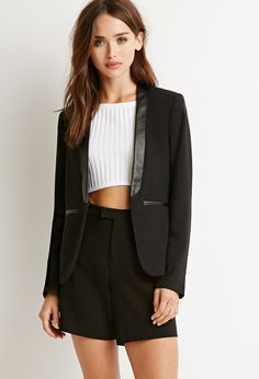 Faux Leather Trim Blazer - Jackets & Coats - 2000054095 - Forever 21 EU English