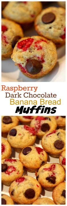 Raspberry- Dark Chocolate Banana Bread Muffins recipe