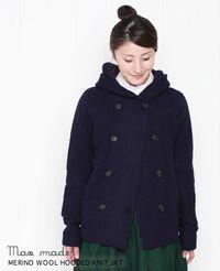 maomade [マオメイド] 強縮メリノウール フード付き ニットジャケット 3色 331165