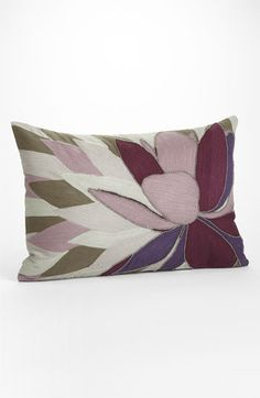Gorgeous embroidered Lotus pillow, in mauves, lilacs, cremes, and green! ~ Nordstrom 'Lotus' Embroidered Pillow available at #Nordstrom