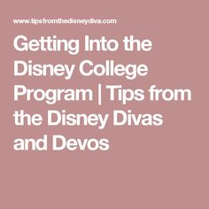 Getting Into The Disney College Program | Tips From The Disney Divas And  Devos