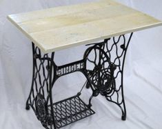 Vintage Singer Sewing Machine Treadle Table with Oak Hardwood Top -- Custom Options Available Sewing Machines Best, Treadle Sewing Machines, Antique Sewing Machines, Singer Sewing Tables, Sewing Machine Tables, Into The Woods, Handmade Furniture, Unusual Furniture, Black Furniture