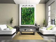 Green Abstract Painting Huge Contemporary Modern Canvas Art By
