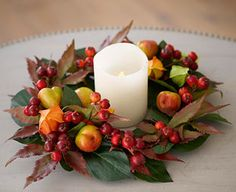 Physalis Wreath and LED Candle Silk Flower Autumn wreath perfect as a table centrepiece or would look just as lovely in a fireplace.