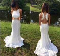 Lace prom dress white gold