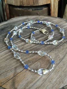 Crystal & Pearl Long Pearl NecklaceBlue Silver by LamornaDesign