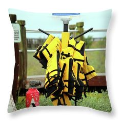 Life Jacket Throw Pillow featuring the photograph Life Jacket Station by Cynthia Guinn