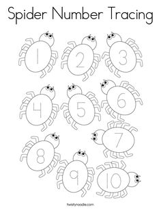 Spider Number Tracing Coloring Page - Twisty Noodle Bug Coloring Pages, Spider Coloring Page, Halloween Coloring Pages, Animal Coloring Pages, Coloring For Kids, Halloween Letters, Halloween Week, Halloween Themes, Halloween Crafts
