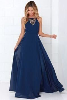 Dark blue chiffon round neck long prom dress,evening dress