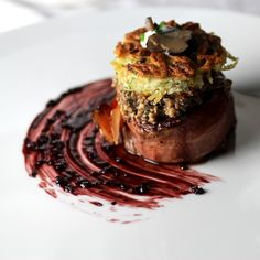 Filet Mignon Wrapped in Speck Duxelles with Truffle, Potato Cake, Creme Fraiche, Truffle Carpaccio Painted Bordelaise Reduction ¦ Taste with the Eyes Gourmet Recipes, Cooking Recipes, Beef Fillet, Potato Cakes, Le Diner, Food Design, Food Presentation, Food Plating, Food Inspiration