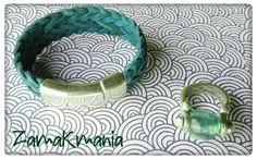 Conjunto de Pulsera de cuero trenzado (diversos colores) con cierre de imán, y anillo de de zamak y resina.