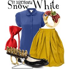 Snow White, created by lalakay on Polyvore - This is going to be perfect when I organise my niece's Snow White birthday party.