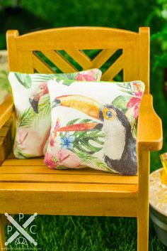 426e3c7842ee4f Miniature Toucan Pillow - 1:12 Dollhouse Miniature - The Petite Provisions  Co. Cotton