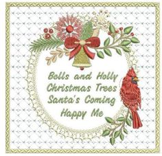 Bells & Holly Frame Christmas Tree And Santa, A Blessing, Beautiful Christmas, I Am Happy, Little Ones, Machine Embroidery, Embroidery Designs, Design Inspiration, Create