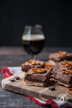 Chocolate Stout Truffle Mousse Bars with Pretzel Crust