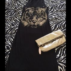 Tiger black maxi dress Super comfy! The new vs clutch is free with $100 purchase Dresses Maxi