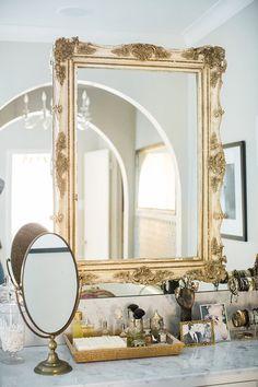 Brass bathroom vanity mirror